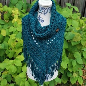 Blue Chunky Fringed Fold Over Cowl Adult Scarf